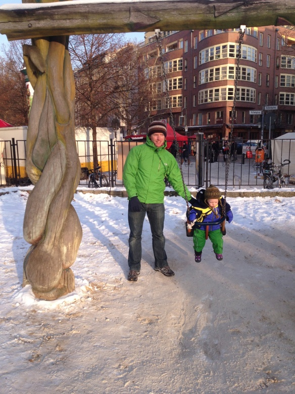 The parks are so cool in Berlin - each one is unique and made from natural materials!  Temperature of -10 was not going to stop Amaya from getting on the swing!