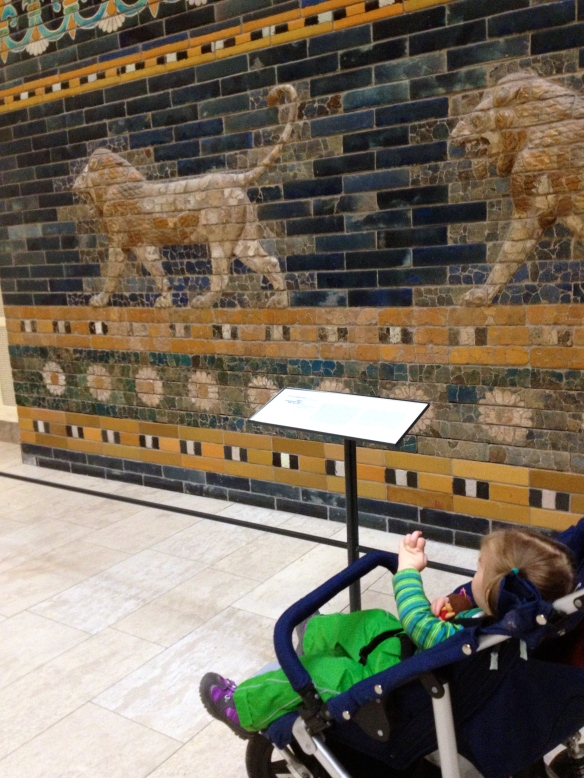 Amaya checking out the Ishtar Gates built by Nebuchadnezzar king of Ancient Babylon.