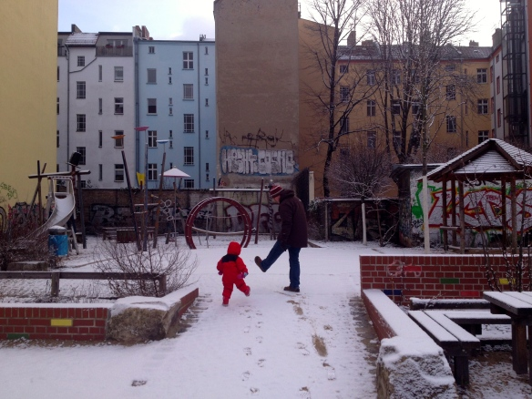 Stomping in new snow in one of Amaya's favourite playgrounds - right next door to the fluffy duck cafe.