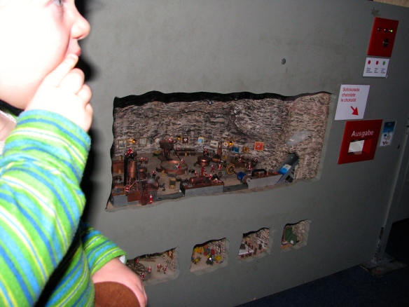 Jonny, Amaya and I went to a huge model train geeky display.  The coolest thing about it in Amaya's opinion (and in mine) was this mini chocolate factory.  The chocolate was made in front of you.  Amaya just had to put her hand into the red hole and wait for the chocolaty goodness to drop into her hand!!!