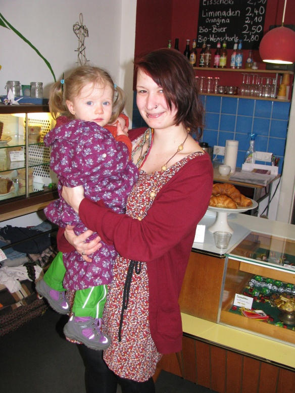 "Amaya in the ""lady cafe"" with Majo her favourite lady!"