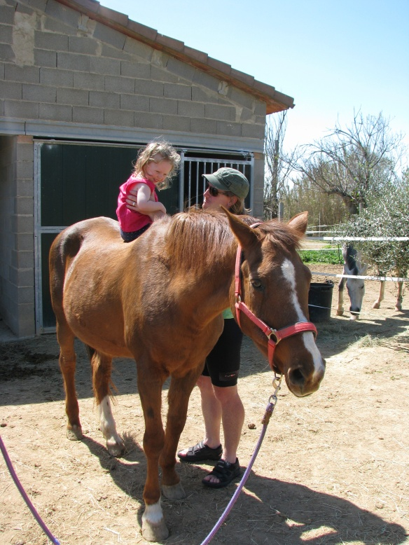 "She was not super happy to be on the horse but she talked about it positively afterwards: ""fun riding the horse!"""