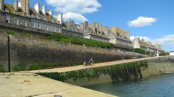 Cycling up from the small ferry into St Malo