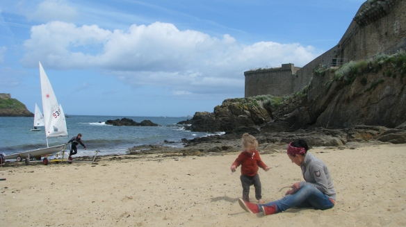 We played for hours on the beach with the fortified city of St Malo all around us.