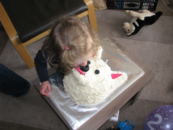 Nose kiss for Amaya's dog cake
