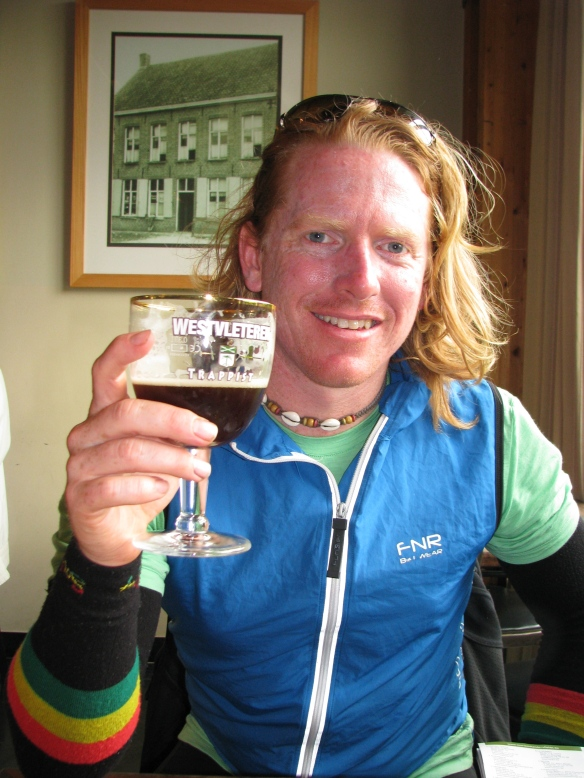 Mic drinking what is purported to be the best beer in the world at St Sixtus Abbey.  10.1% alcohol - then we had to ride another 25km!