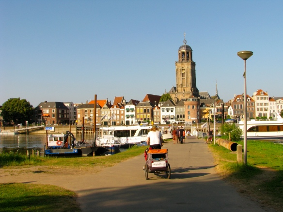 Riding into Deventer, an old port town that even has parts dating to Roman times